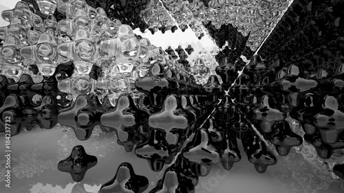 Foto op Aluminium Toronto Abstract white interior of the future, with glossy black and glass sculpture. 3D animation and rendering