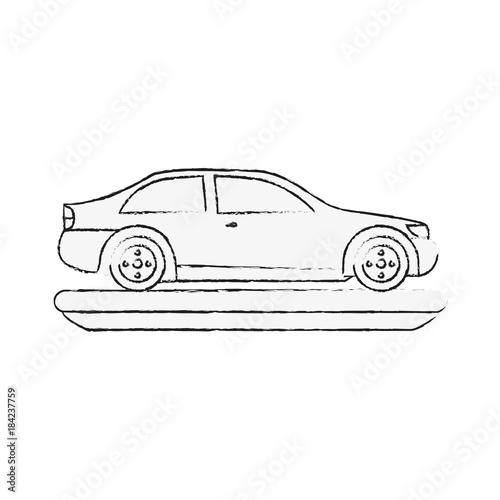 Sticker Sedan car vehicle icon vector illustration graphic design