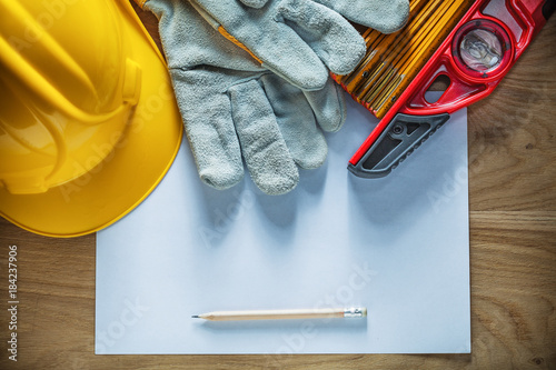 Pencil paper safety gloves wooden meter construction level hard