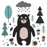Bear in forest Scandinavian style. Poster, childish print, card - vector illustration, eps