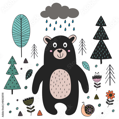 Bear in forest Scandinavian style. Poster, childish print, card - vector illustration, eps - 184238701