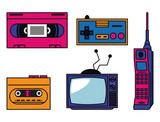 80s technology devices vector illustration graphic design - 184239957