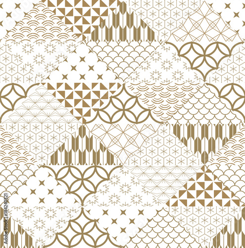 Fototapeta Japanese pattern vector. Gold triangle background texture in wave, curve shape for card, poster, wrapping paper.