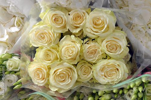 Plexiglas Hydrangea Bunches of white flowers. Florist. Floral compositions