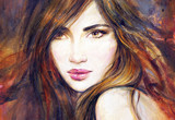 Beautiful woman with long hair. Fashion illustration.  - 184245349