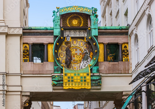 Fotobehang Wenen Ankeruhr Clock in Hoher Markt - Vienna Austria