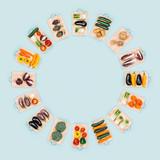 Fresh vegetables circular frame - 184251525