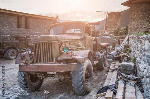 Leinwandbild Motiv Old sovet Truck in Mestia