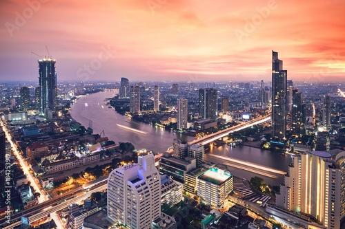 Bangkok during golden sunset