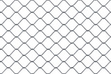 Seamless looping texture of metallic chain link fence on white background. - 184254949