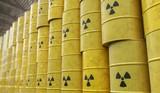Dumping of radioactive waste barrels. 3D rendered illustration. - 184255147