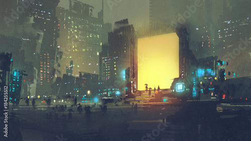 night scenery of futuristic city with many people in teleport station, digital art style, illustration painting © grandfailure