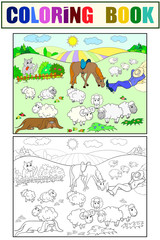 Pasture sheep with a shepherd and dog coloring for children cartoon vector illustration