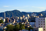 View of mountain ranges from the city of Sapporo - 184258971