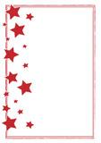 hangemalter Rahmen rot mit Sternen Weihnachten - 184259176