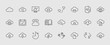 Set of cloud vector line icon. It contains symbols to upload, download, link and more. Editable move. 32x32 pixels.
