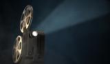 Vintage movie projector on dark background. 3D rendered illustration.