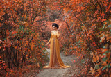 A fragile, tender girl in a yellow vintage dress strolls against the background of fiery autumn nature. Artistic Photography