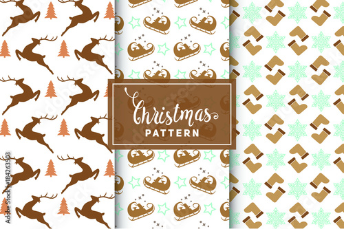 Sticker Christmas vector patterns