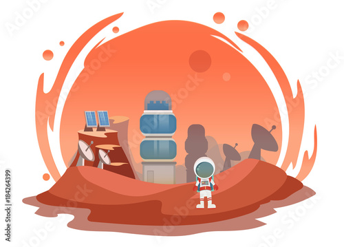 The man on Mars. Against the background of shuttles, spacecraft and satellites. Vector illustration.