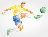 soccer player flying to kick the ball made of colorful brushstrokes on light background
