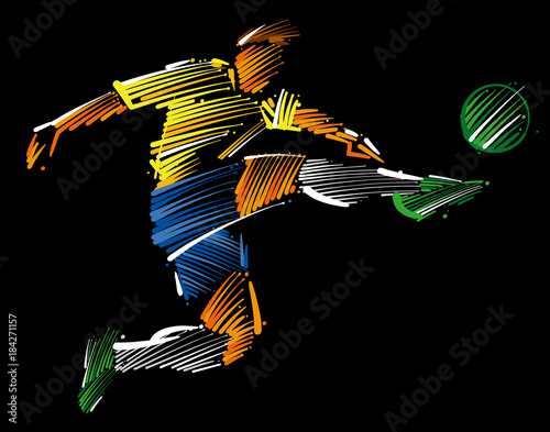 Foto op Aluminium Bol soccer player flying to kick the ball made of colorful brushstrokes on dark background
