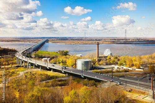 Sticker Bridge over Amur river in Khabarovsk in autumn