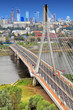 Poland, Mazovia province, Warsaw - 2012/09/01: Panoramic view of the city center with the Swietokrzyski Bridge over Vistula river