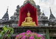 Quadro Golden Buddha statue at the Wat Bupparam Temple in Chiang Mai Thailand