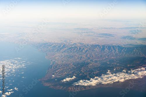 Fotobehang Marokko Aerial view of North Africa and Alboran sea