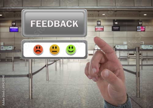 Poster Hand pointing at feedback button and smiley faces review in