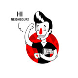 Hi, Neighbor! Tattooed man in the black t-shirt with paper and the cup of tea isolated on the green background.Flat style, fully vector. Greeting funny illustration in unique author style. - 184282712