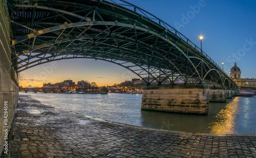 Plakat River Seine with Pont des Arts and Institut de France at sunrise in Paris