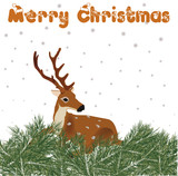 Colorful illustration of deer with Christmas decoration