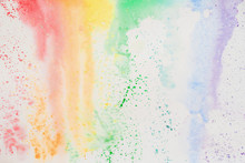 """Постер, картина, фотообои """"Abstract watercolor stains, iridescent texture in colorful shades of vivid bright colors on white paper, rainbow. Current watercolor"""""""