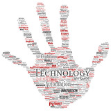 Vector conceptual digital smart technology, innovation media hand print stamp word cloud isolated background. Collage of information, internet, future development, research, evolution or intelligence - 184292172