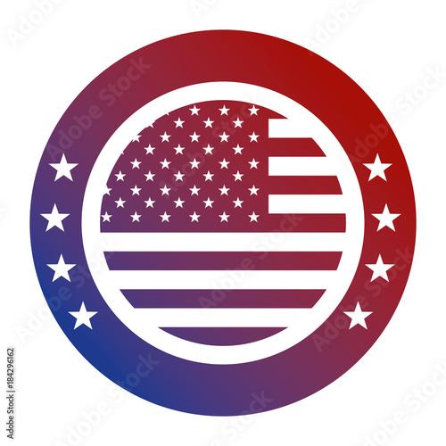 united states of america flag patriotism button icon vector illustration