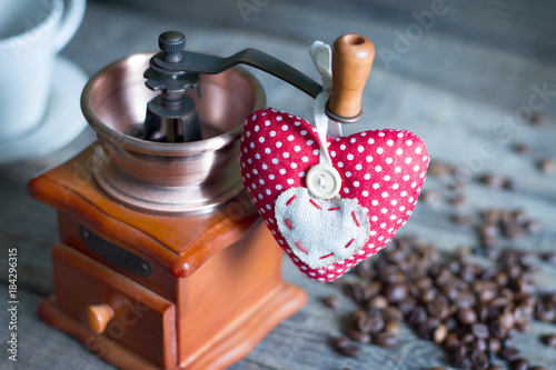 Coffee grinder and heart retro vintage abstract still life