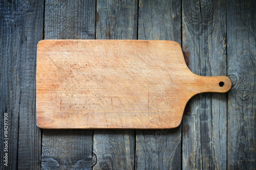 Old retro vitnage empty cutting board food concept background