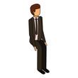 isometric businessman sit pose character vector illustration