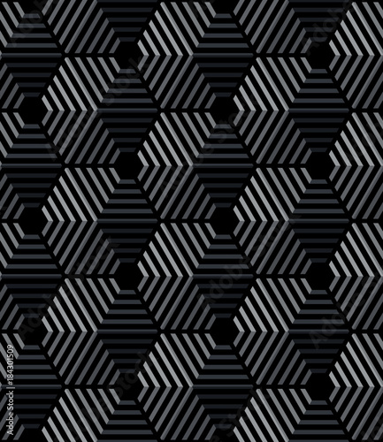 Vector seamless hexagon pattern in black color. - 184301509