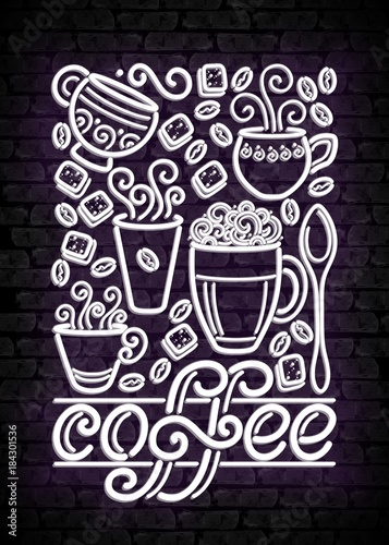 Plexiglas Vintage Poster Coffee House Vintage Poster Template with Cups, Swirl Hot Steam, Graines and Sugar. Restaurant, Cafe Label on the Brick Wall. Doodle Style. Advertisement Flyer. Vector Line Art Illustration