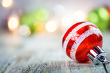 Christmas Holiday Lights and Ornaments Background - 184302977