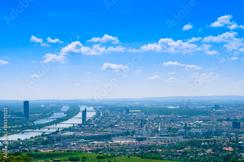 Fotobehang Wenen Vienna landscape with Danube river from Kahlenberg mountain