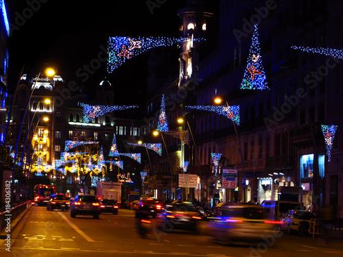 Aluminium Barcelona Christmas lights in Barcelona street