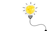Creative idea, Inspiration, New idea and Innovation concept with Crumpled Paper light bulb on white background. - 184314139