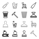 Set of 16 supplies outline icons - 184319998