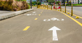 Beautiful outdoor view of Bikeway in new boulevar in mainstreet in Amazonas avenue, in the city of Quito - 184320114