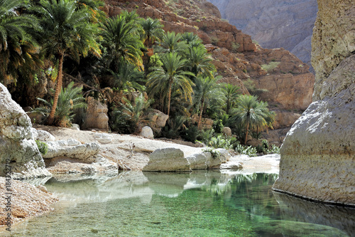 Wadi Shab, oasis, between the mountains, Oman © Jürgen Feuerer