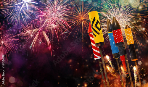 Fototapeta Abstract firework background with free space for text